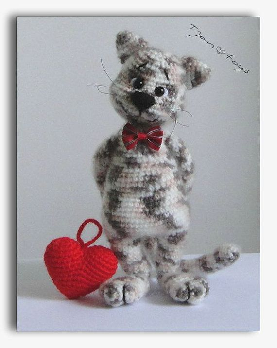 For Valentine S Day Cat Toys : Cat with heart valentine s day gift ooak stuffed animals