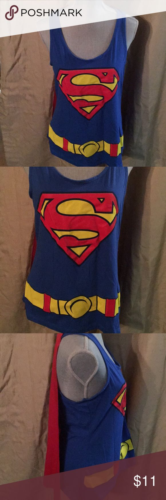 Superman Tank Top & cape! In good used condition  Sz XL JR's Stain free Cape is removable superman Tops Tank Tops