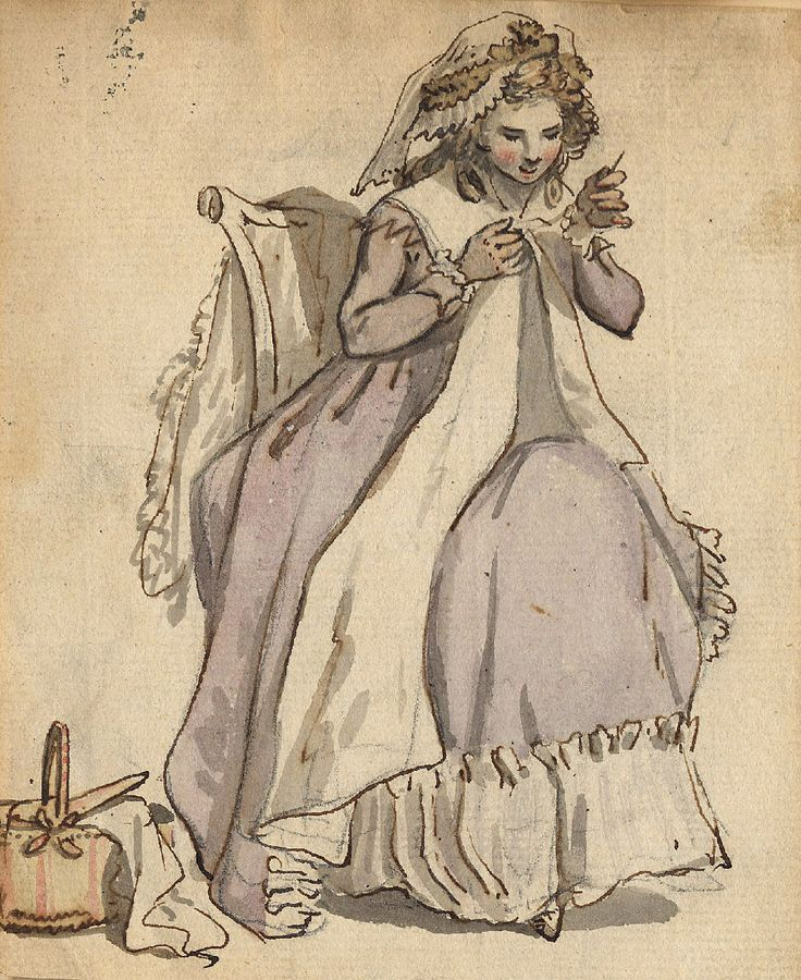 Woman sewing (drawing) Charles Catton (1728-1798)