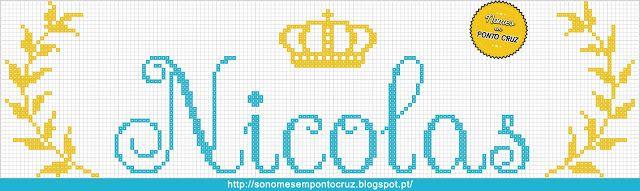 Nomes em Ponto Cruz: Nicolas - Nomes em Ponto Cruz