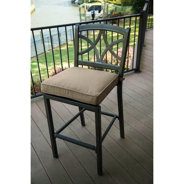 Davenport Grey Alumicast Bar Stools With Tan Cushions (Set Of 4) (Grey)