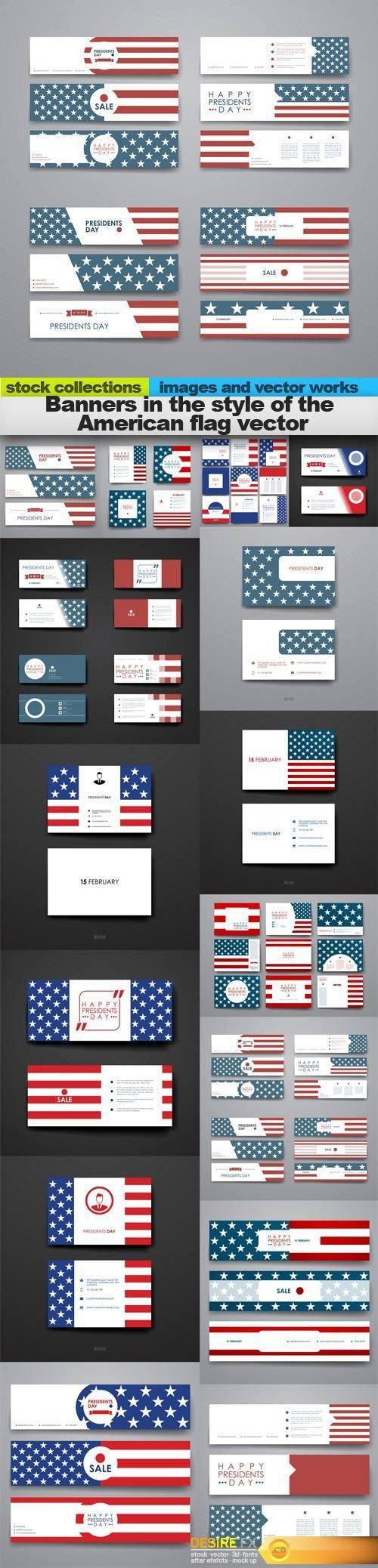 Banners in the style of the American flag vector, 15 x EPS http://www.desirefx.me/banners-in-the-style-of-the-american-flag-vector-15-x-eps/