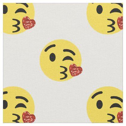 #glitter kiss emoji fabric - #emoji #emojis #smiley #smilies