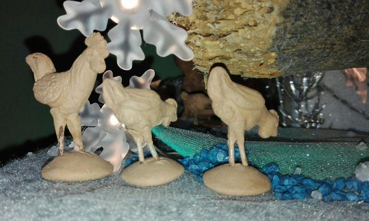 2016 presepe in terracotta - gallo e galline