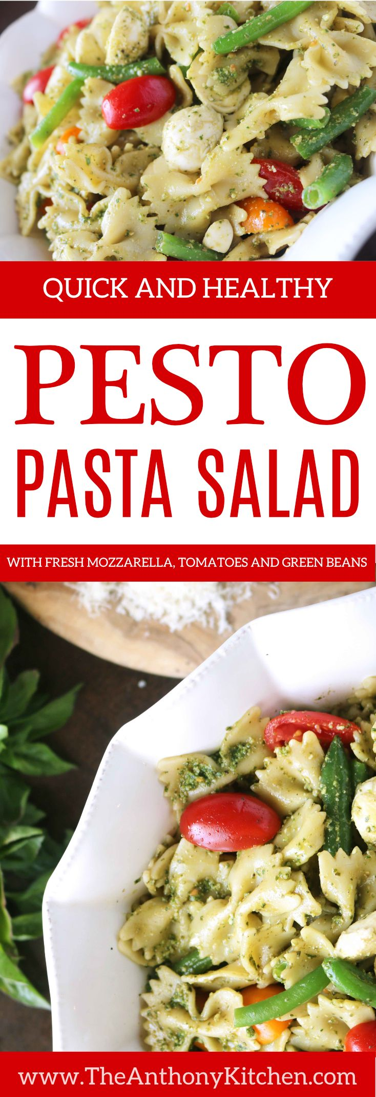Healthy Pasta Salad with Basil Pesto | A creamy pesto pasta salad, featuring fresh and healthy ingredients like grape tomatoes and green beans | #pestosauce #bestbasilpesto #pestopastasalad #basilpesto #healthypastarecipe #makeaheadlunchrecipe