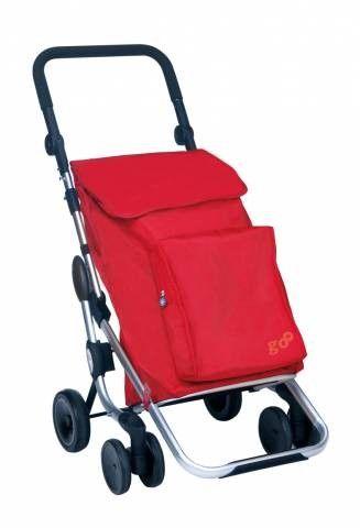 Carro Compra Play Go Plus,  ,46x54x110, 50l+bolsa térmica 4 litros Capacidad 5,4kg Lavable. Un carro ligero, plegable y fácil de usar, de manillar regulable en altura, práctica bolsa térmica y empuñadura de goma para mejorar la maniobrabilidad.Facilita el subir escaleras, ruedas dobles. Color Rojo.
