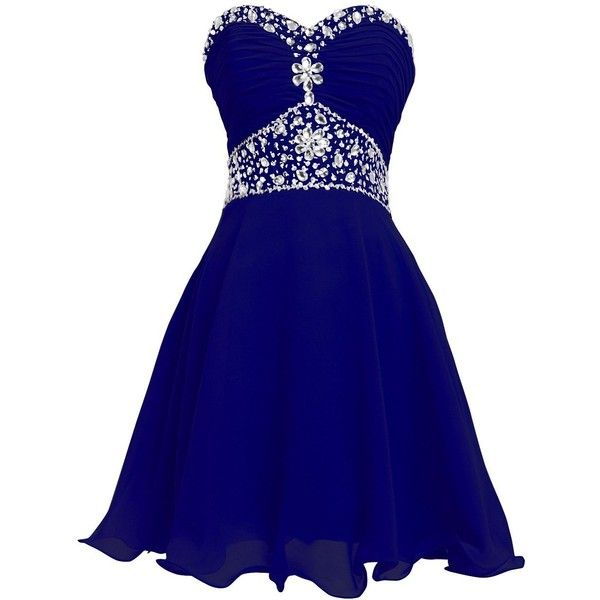 FAIRY COUPLE Short Chiffon Strapless Crystal Homecoming Dress D0263 ($120) ❤ liked on Polyvore featuring dresses, blue dress, chiffon cocktail dress, strapless dresses, homecoming dresses and short strapless dresses