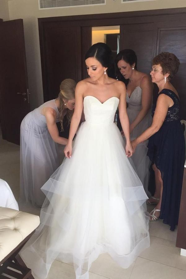 Sweetheart Strapless Wedding Dresses,Ruffles Open Back Cheap Wedding Gown,SW83