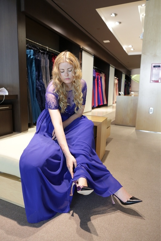 Beca Alexander (FashionIndie) for Pronovias and Tous at Spanish Soho Mile event.