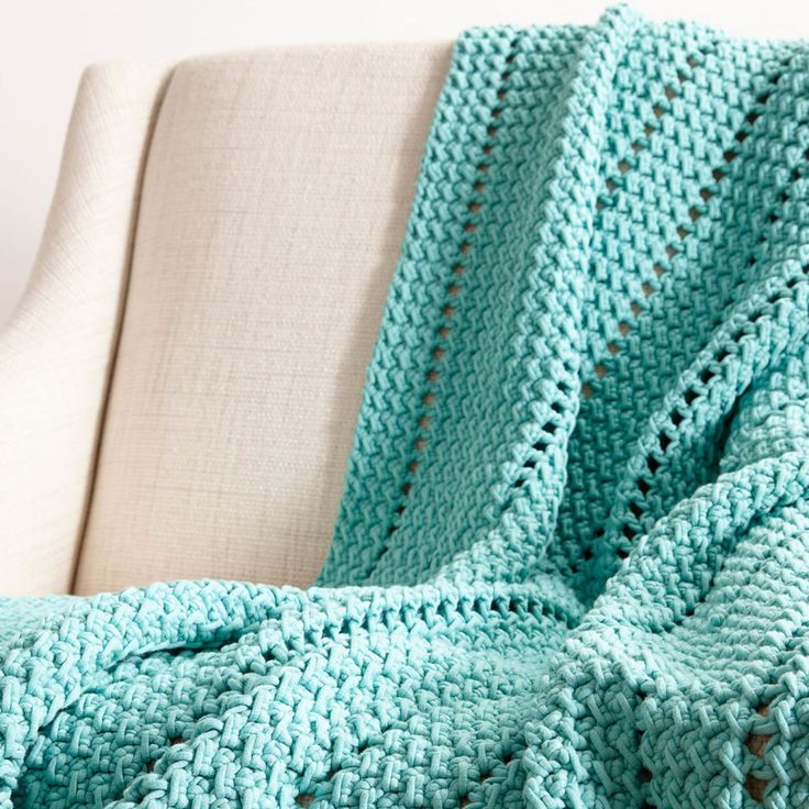 Free Crochet Afghan pattern Bernat® Maker Home Dec™ Eyelets and Textures Crochet Blanket (affiliate link)