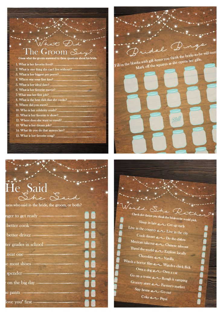 wedding shower poem ideas%0A Rustic Lights Bridal Shower Game Bundle   Bridal Shower Games   Game  Package   Rustic  Country Bridal  Mason Jars  Fairy Lights