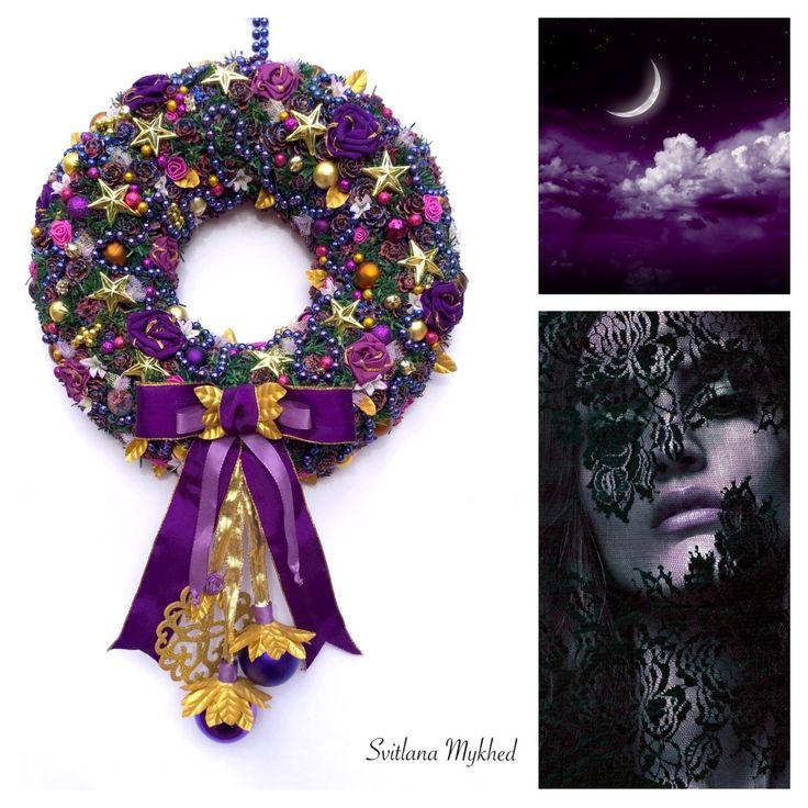 """Couronne décorative """"Nuit Burlesque"""". Couronne de porte d'entrée. Décor mural. : Accessoires de maison par perles-et-couronnes"""