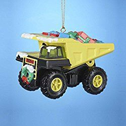 "3.5"" Tonka Dump Truck with Presents Christmas Ornament"
