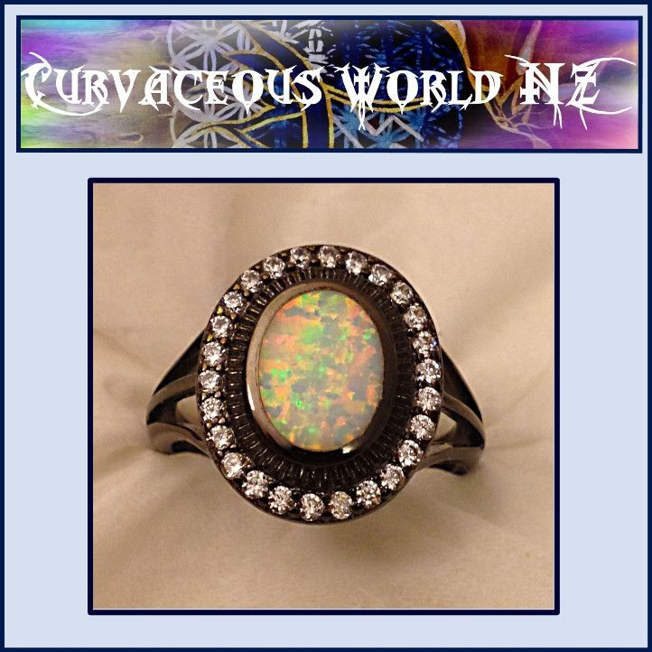 White Fire Opal CZ Silver Black Gold Filled ring