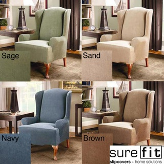 sure fit stretch stripe wing chair slipcover overstock shopping big discounts on sure fit recliner u0026 wing chair slipcovers