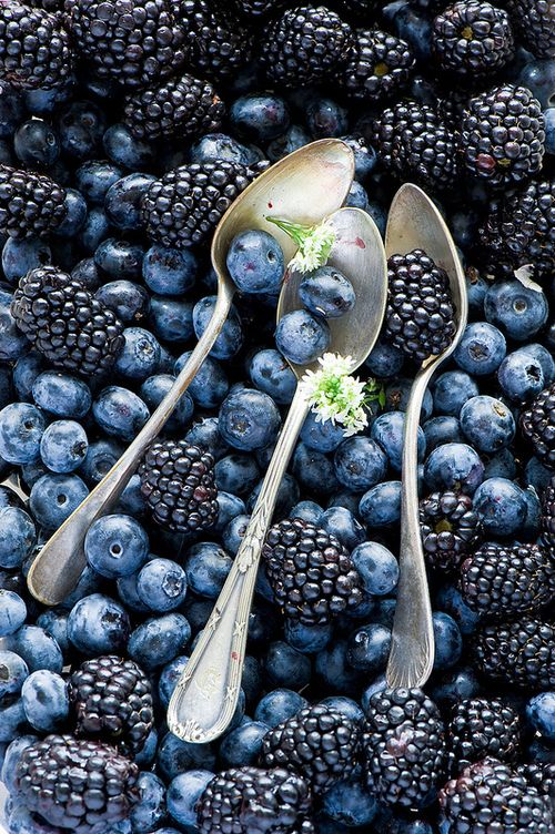 I chose to feature blueberries and blackberries  on my board because they help protect your heart, diabetes and bone health and both are my favorite foods - My organic summer garden menu