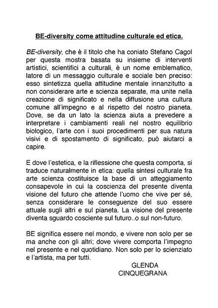 Be-diversity: a project curated by stefano cagol - MUSE TRENTO testo di Glenda Cinquegrana