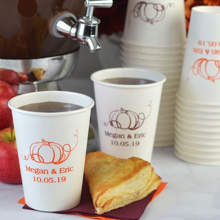 Made of sturdy wax lined paper, these personalized white paper cups custom printed with a fun fall design  won't collapse or get soggy, making them ideal for hot apple cider at your warm and inviting fall wedding. Find these personalized cups here: http://myweddingreceptionideas.com/12-oz-fall-personalized-paper-cups.asp