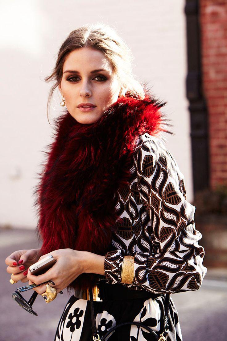 Olivia Palermo | Vogue.es | Tracey Reese top, Reiss belt Charlotte Simone fur scarf.