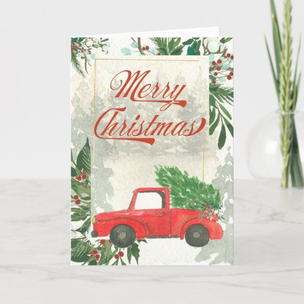 Christmas Holiday Cards 7 x 3.5 Have a Merry Christmas Poinsetta Vase