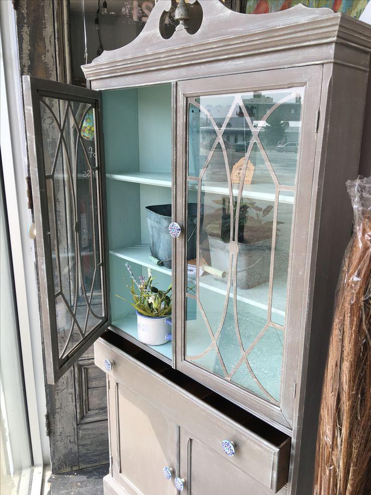 Fresh look on an antique corner cabinet