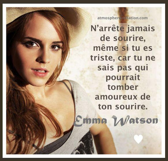 N'arrête jamais de sourire même si tu es triste  Trouvez encore plus de citations et de dictons sur: http://www.atmosphere-citation.com/amour/femme-amour-emma-watson.html?