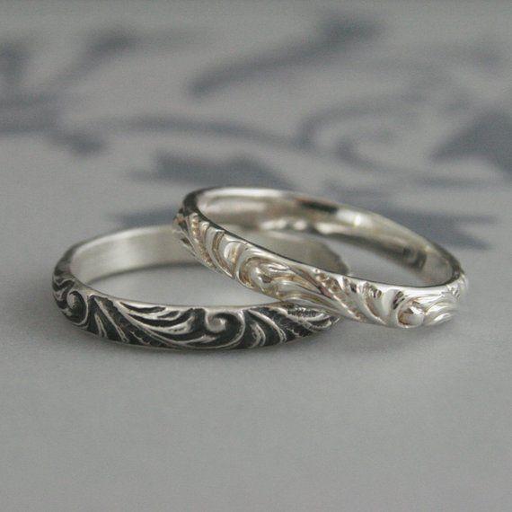 Women S Silver Wedding Band Florence Flourish Ring Etsy Silver Wedding Bands Vintage Style Rings Vintage Style Wedding Rings