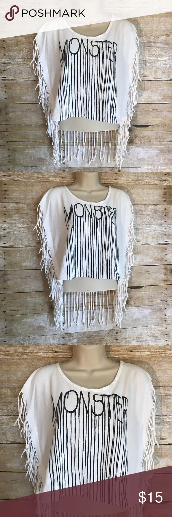 "'Monsters' Discovery Island Crop top SzM Coachella Discovery Island Brand - size medium - white crop top - black letters "" MONSTERS"" black ink drip - Coachella inspired fringe trim - excellent condition - ‼️FAST SHIPPING‼️ Discovery Island  Tops Crop Tops"