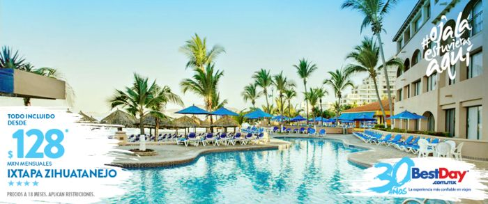 Barceló Ixtapa Beach es un gran hotel Todo Incluido con 398 habitaciones, situado sobre la principal playa de Ixtapa Zihuatanejo, que se eleva sobre un conjunto de palmeras ondulantes. Barceló Ixtapa Beach cuenta con amplias habitaciones con un gran número de amenidades y decoración moderna, además de instalaciones de primer nivel que incluyen dos piscinas, canchas de tenis y salones para hasta 400 personas. #OjalaEstuvierasAqui