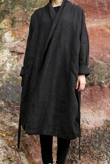 Wrapover coat | Dark grey | Drape gown tie waist | Folded cuffs