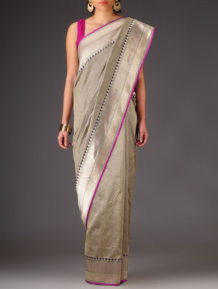 Buy Steel Blue Fuschia Banarasi Silk Zari Handwoven Saree By Ekaya Sarees Woven Timeless Treasure with Accents Online at Jaypore.com