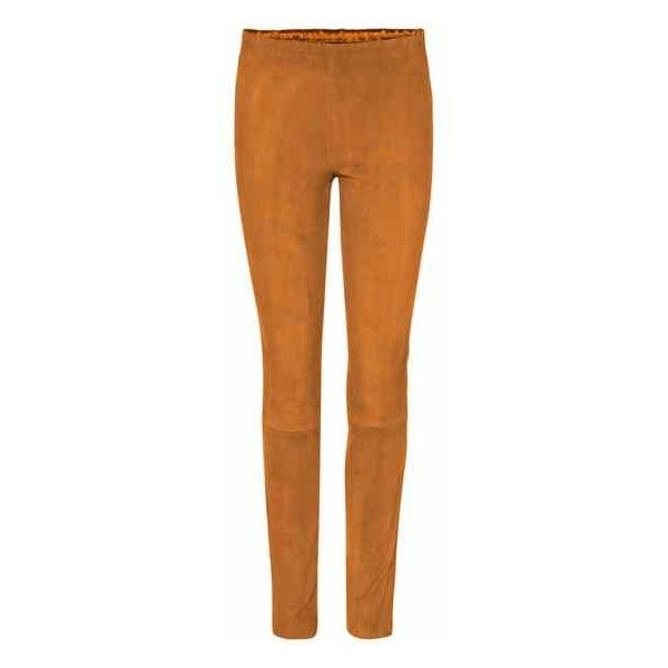 Stouls Mickael Suede Leggings (77,655 INR) ❤ liked on Polyvore featuring pants, leggings, beige top, stouls and beige sweater