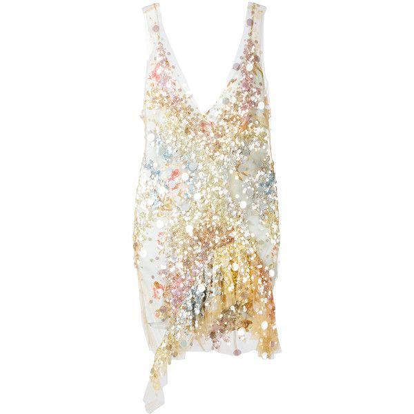 Amen sequin mini dress featuring polyvore, women's fashion, clothing, dresses, grey, gray cocktail dress, grey sequin dress, gray dress, sequin dress and short grey dress