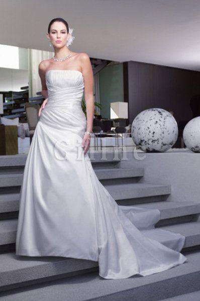 Robe de mariée facile officiel avec sans manches en salle fourreaux plissés