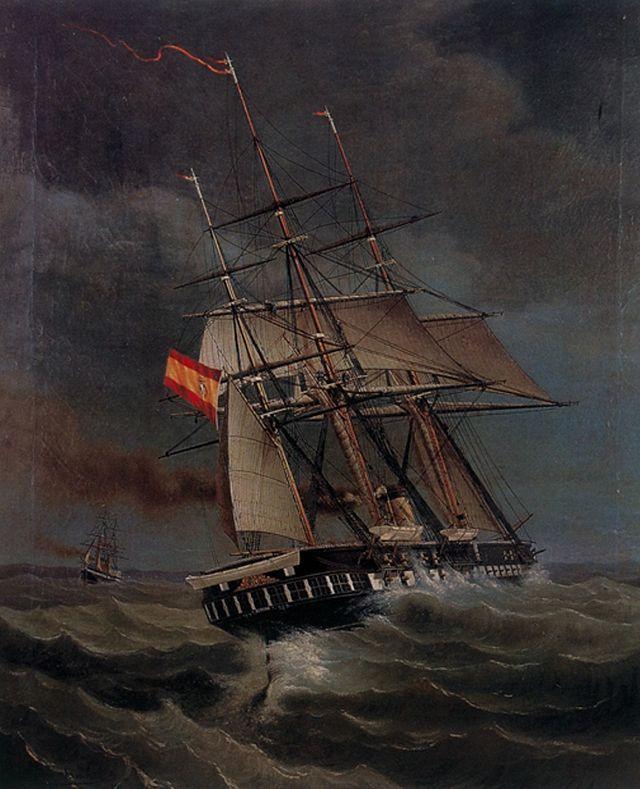 Fragata de Helice Gerona. Durante la Guerra hispano-sudamericana, se asignó a la lucha contra los corsarios chilenos y peruanos en el océano Atlántico. En agosto de 1866, capturó a la recién adquirida corbeta Tornado, que fue incorporada a la Armada Española. Participó en operaciones en el norte de África durante la 1ª Guerra del Rif en 1893, pasando después a ser utilizada como escuela de cabos de cañón. En 1898, pasó a servir como depósito de marinería, siendo desguazada a final de ese año