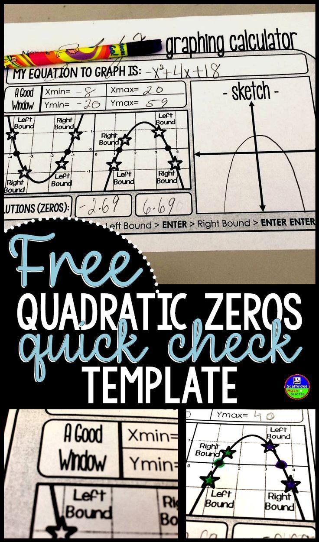 Free Quadratic Zeros Quick-Check Template | Education