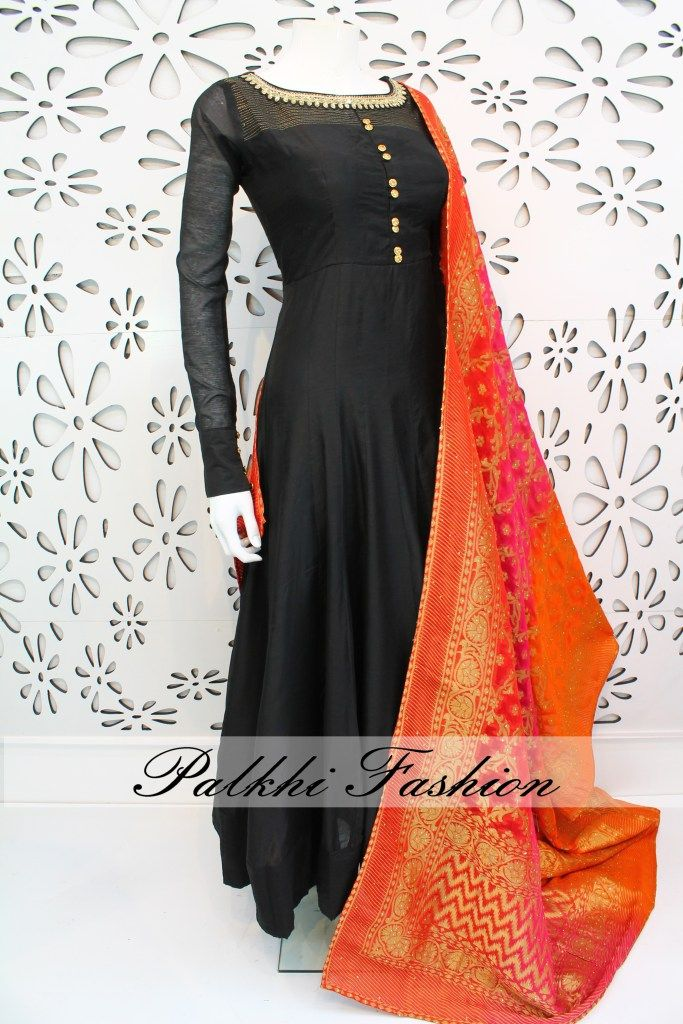 PalkhiFashion Exclusive Full Flair Black Soft Silk Outfit With Pure Georgette Duppata