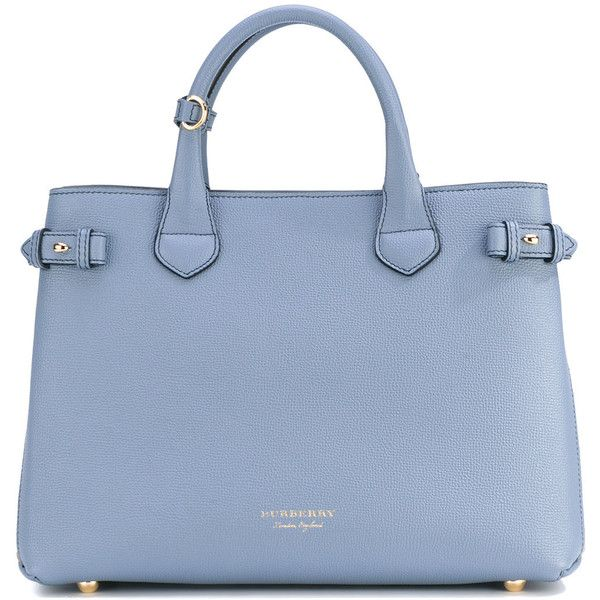 "Burberry Medium ""Banner"" Handbag ($1,585) ❤ liked on Polyvore featuring bags, handbags, light blue, burberry handbags, leather tote, leather tote bags, burberry purses and leather hand bags"