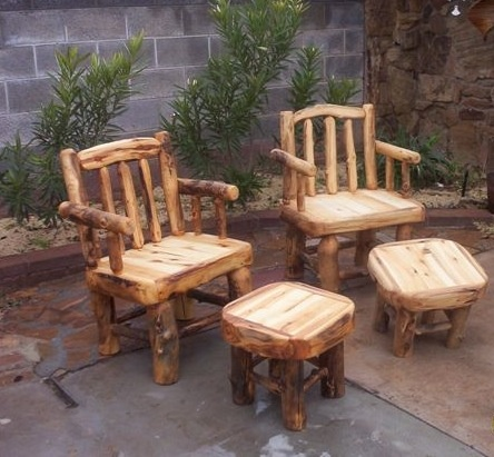 Log Patio Chairs And End Tables/foot Stools.