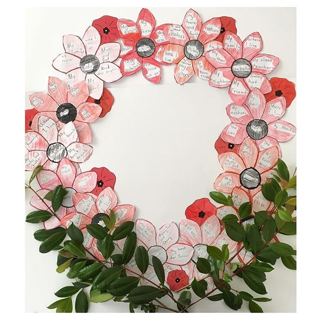 Gratitude Poppy Wreath My gorgeous Year 2's did a wonderful job with this activity. We learnt all about gratitude and then put this wreath together including ALL the things we are grateful and thankful for. This activity features in our ANZAC Day Packs! ~ Rainbow Sky Creations ~