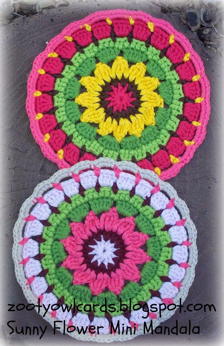 Crochet Sunny Flower Mini Mandala - Tutorial ❥ 4U hilariafina http://www.pinterest.com/hilariafina/