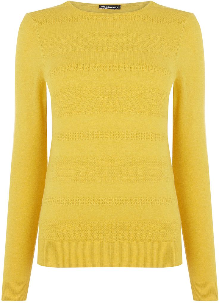 Womens canary yellow stitch texture loose crew from Warehouse - £35 at ClothingByColour.com