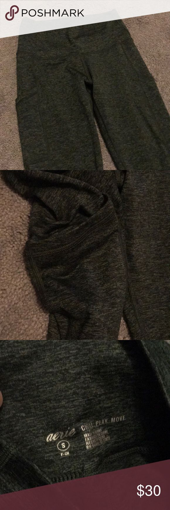 Workout leggings Dark forest green soft and sexy AE leggings. These have a pocket on both sides and can be worn as workout leggings or regular leggings. Only worn a few times. Super soft interior and exterior. Come down to ankles and fitted American Eagle Outfitters Pants Leggings
