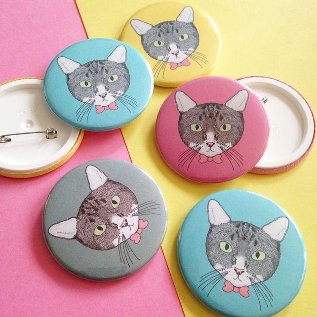 Illustrated Cat Badge £1.50 #folksyfriday
