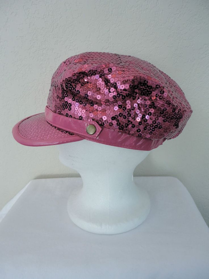 "Vintage Hot Pink Sequined Roller Disco Mod Urban CHIC Newsboy Cabby Hat S/M 20"" #Unbranded #Newsboy"
