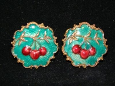 antique buttons, cherries on turquoise enamel