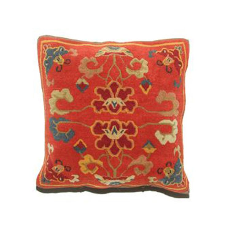 "This plush down feather pillow is a miniature, individual, hand-knotted rug with handsewn Tibetan brass fasteners. While the striking design and vibrant colors make it a perfect decorative throw pillow, it is durable enough to be used for seated meditation or yoga practice.      Measures 20"" x 20""."