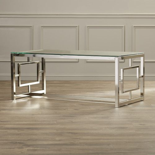 """Features:  -Steel frame.  -Glass table top.  Top Finish: -Clear.  Base Material: -Metal.  Base Finish: -Silver. Dimensions:  Overall Height - Top to Bottom: -19"""".  Overall Width - Side to Side: -47.25"""