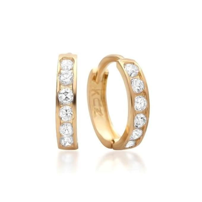 10 Karat Yellow Gold 9 Mm - 1/3 Inch Hugie Hoop Earrings With Cz Usa Made
