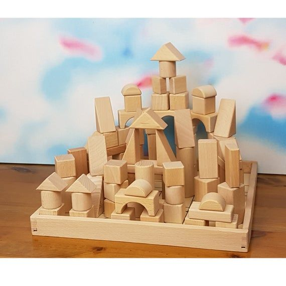 Natural Wood Building Blocks With Tray Educational Wooden Etsy In 2020 Wood Building Building Blocks Simple Storage